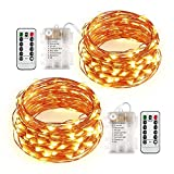 Qedertek 2 Pack Fairy Lights with Remote Control, 20ft 60 LED 8 Modes Battery Operated Starry String Lights, Dimmable Copper Wire Firefly Lights for Wedding, Party, Home, Holiday Decorations(Warm White)