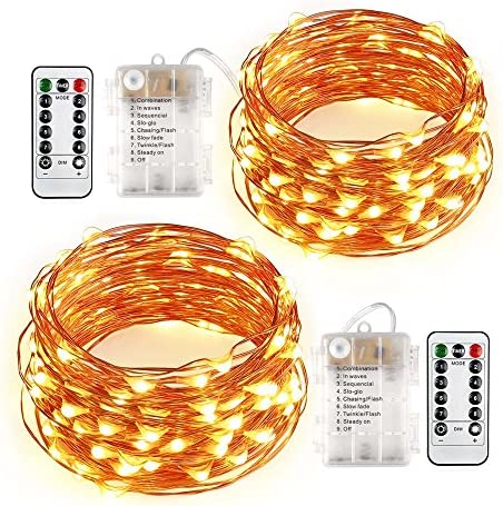 Qedertek 2 Pack 60 Christmas LED Lights, 20ft Battery Operated String Lights, 8 Modes Copper Wire Lights with Remote Control for Home, Wedding, Bedroom, Valentines and Holiday Decorations Warm White