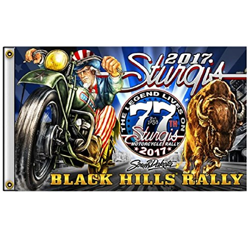 2017 Sturgis Rally MOTORCYCLE FLAG (3' X 5') Uncle Sam Racer FLAG