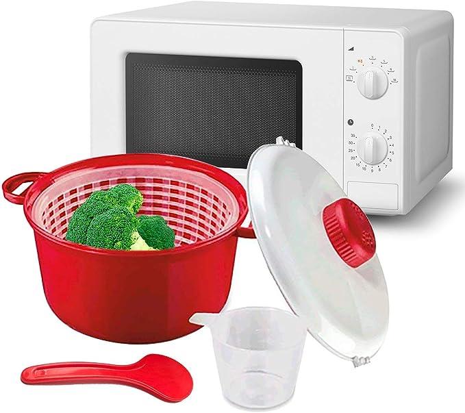 MovilCom® - Olla Vapor microondas | Escurridor, Cuchara y Vaso medidor | Cocina al Vapor | fácil, rápido: Amazon.es: Hogar