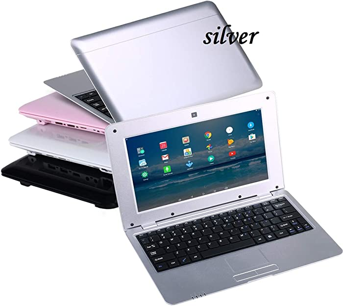 Goldengulf 2020 Latest 10 Inch Computer Laptop PC Android 6.0 Quad Core Mini Notebook Netbook 8GB WiFi Webcam USB Netflix YouTube Google Player Flash (Silver)
