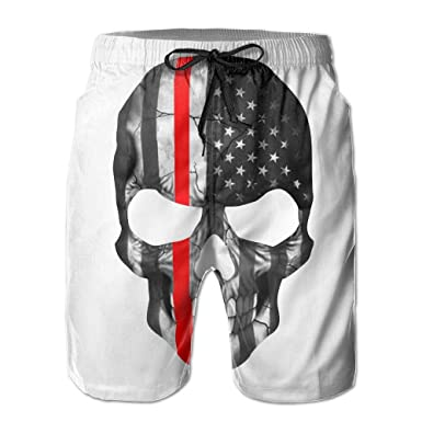 ca2ff7d963 Inlenged Firefighter Sticker Thin Red Line Skull Mens Casual Shorts Swim  Trunks Fit Performance Quick Dry Boardshorts Men