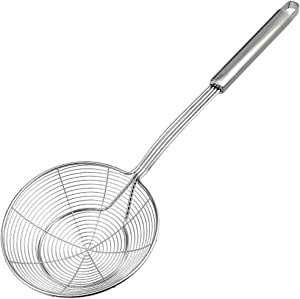 cnomg Stainless Steel Skimmer Strainer, Wire Skimmer with Spiral Mesh, Professional Grade Handle Skimmer Spoon Ladle for Pasta Chips