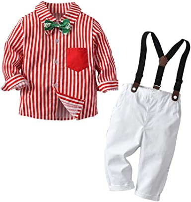 1-5 Años, SO-buts Traje De Caballero Para Bebés Niños Pequeños Camisa Rayas Corbata Lazo Manga Larga Navidad Tops + Pantalones Traje Formal Caballero Para Fiesta (Rojo, 3-4 años): Amazon.es: Ropa y accesorios