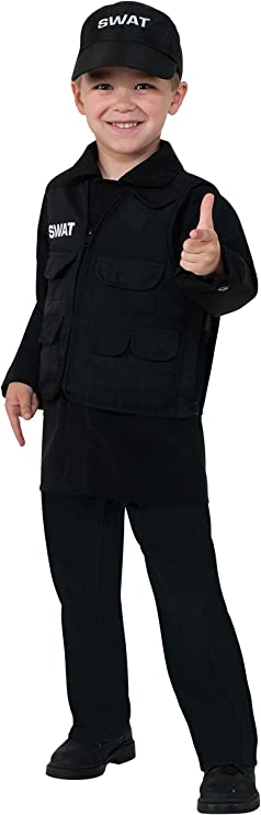 Rubie's Kids Swat Costume | Swat Team Costume for Boys and Girls Dress Up, Small 4-6 Black