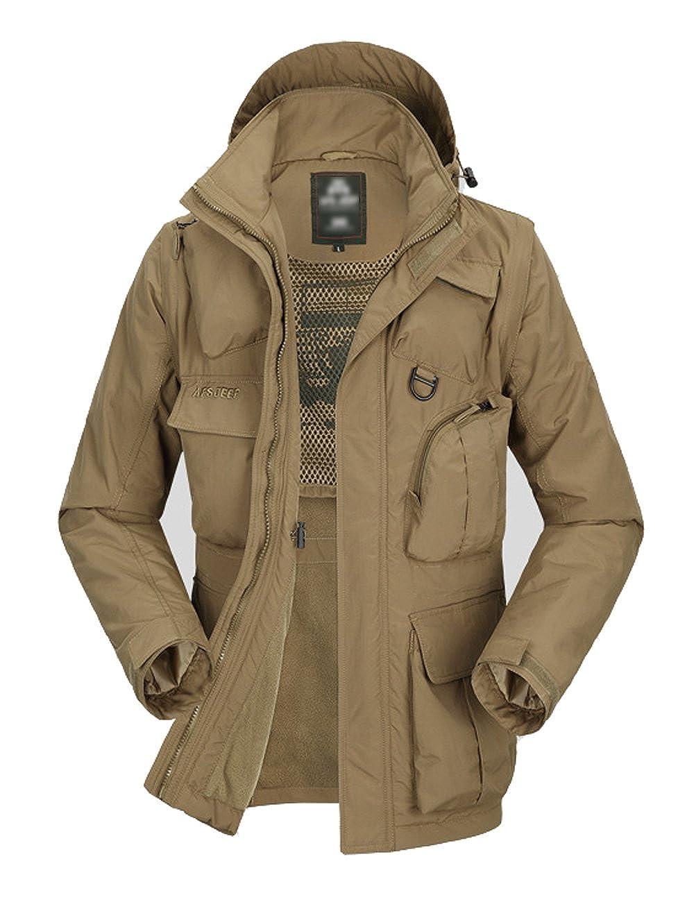 Micmall Men's Winter Waterproof Climbing Hiking 2-in-1 Front-zip Hooded Jacket Mic-8761