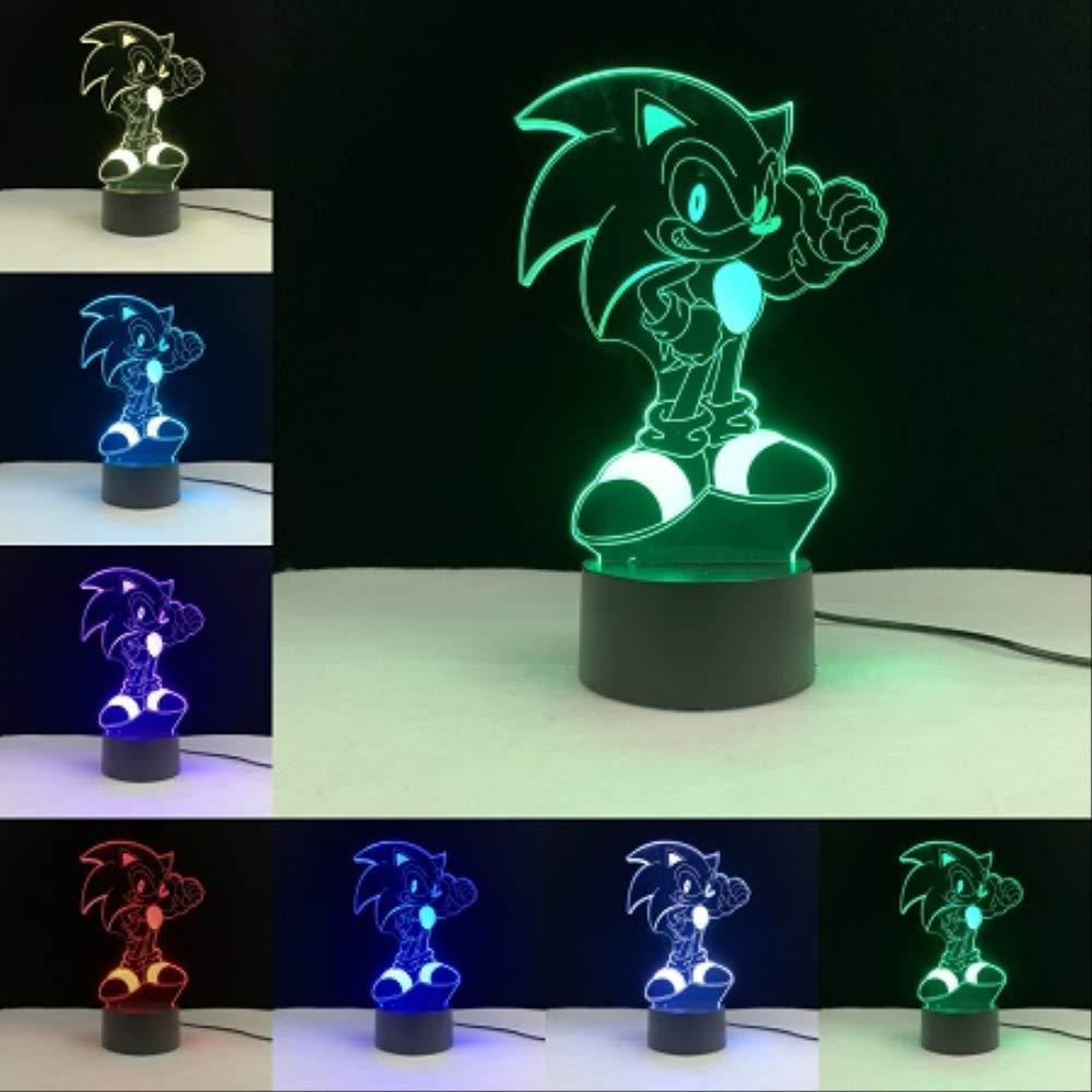 Luz Nocturna 3D Sonic 3D Cartoon Touch L/ámpara Remota Base Luz Nocturna Colores Bombilla Sensor Iluminaci/ón Hogar Dormitorio Decoraci/ón Beb/é Ni/ños Presente Lamparas Placa de PMMA sin base D
