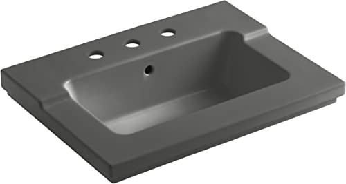 KOHLER K-2979-8-58 Tresham One-Piece Surface and Integrated Bathroom Sink with 8-Inch Widespread Faucet Drilling, Thunder Grey