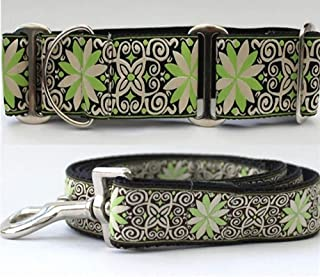 """product image for Diva-Dog 'Pinwheel Dutch Spring' 2"""" Extra Wide Chainless Martingale Dog Collar, Matching Leash Available - MD, LG, XL"""