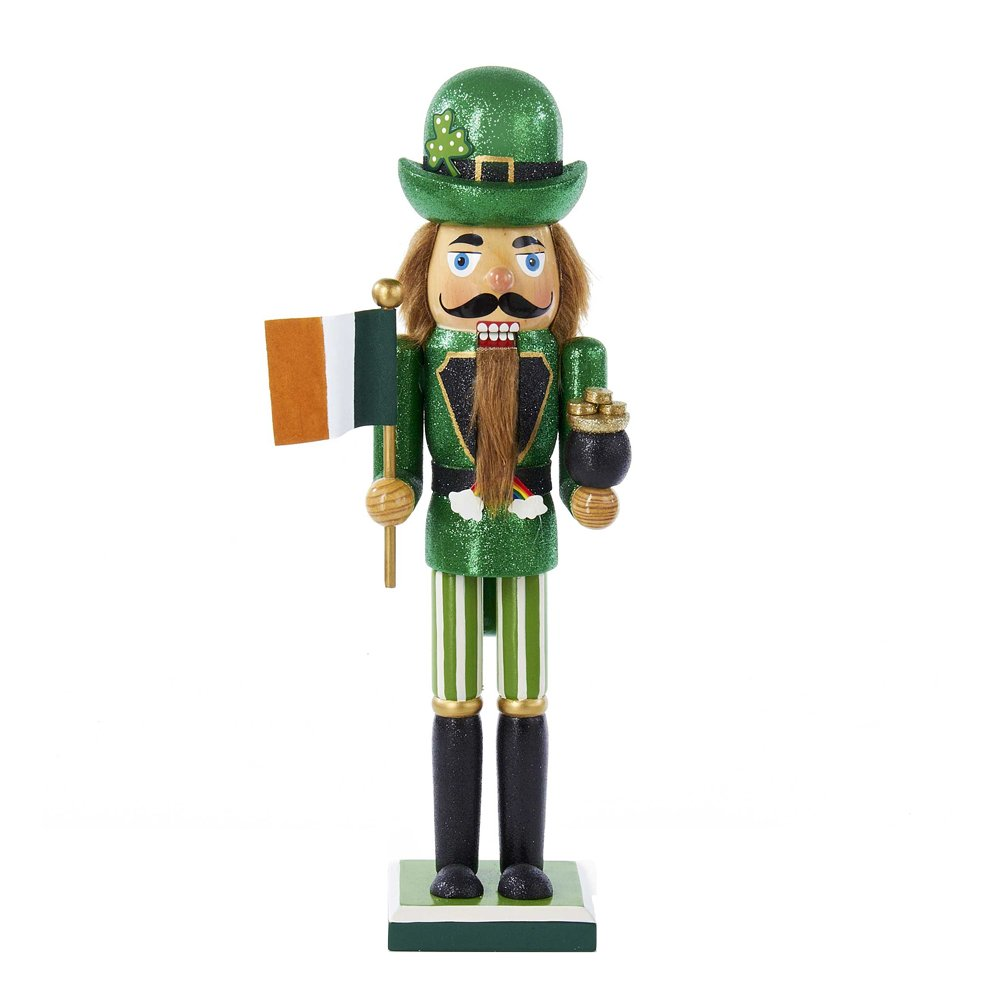 Kurt Adler Irish Nutcracker with Flag and Pot of Gold, 15-Inch by Kurt Adler