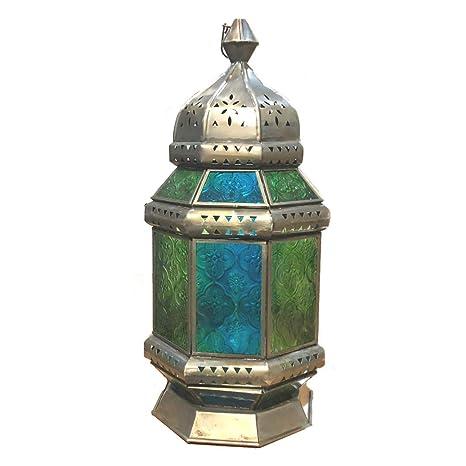 Farol de mesa marroquí con vela, azul y verde: Amazon.es: Iluminación