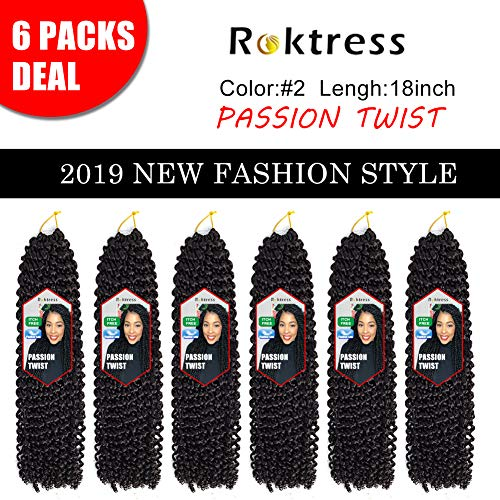 Roktress Passion Twist Hair 18 Inch 22 Strands Long Bohemian Braid Crochet Hair for Passion Twist Water Wave 100% Kanekalon Synthetic Fiber Hot Water Setting Natural Hair Extension (18