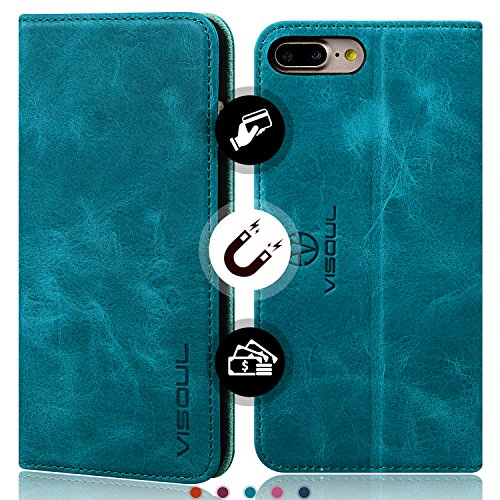 iPhone 8 Plus Wallet Case, iPhone 7 Plus Case, VISOUL Genuine Leather Wallet Case with Kickstand, Credit Card Slots, Magnetic Clasp and Glass Screen Protector for Apple iPhone 8 +/7 +(Mint Blue) ()