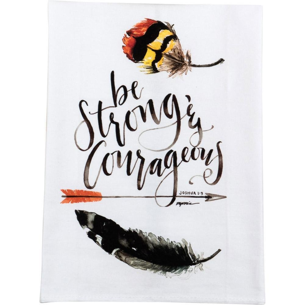 Carpentree Be Strong Courageous Feather Watercolor 20 x 28 Inch Cotton Dish Tea Towel