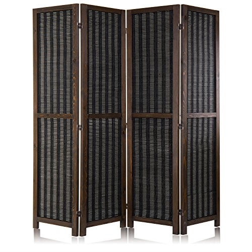(MyGift Bamboo Woven 4-Panel Freestanding Room Divider with Dual-Action Hinges, Dark Brown)