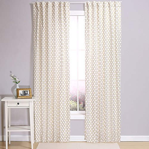 Gold Lattice Window Drapery Panels - Two 84 by 42 inch Panels
