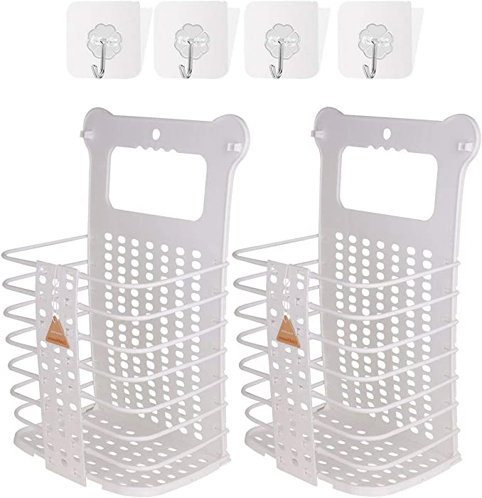 Large Laundry Basket Collapsible Hanging Laundry Basket with Handles Tall Plastic Dirty Laundry Basket Storage for Women Kid's Room Kitchen College Dorm - 2 Pack/White