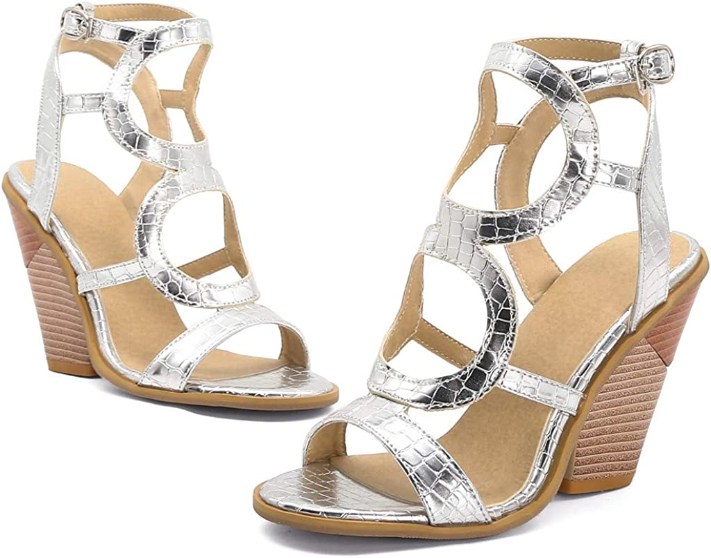 Eoeth Womens Open-Toed Sandals Slingback Cutout Buckle Ankle Strap Sandals Fashion High Heel Thick Bottom Roman Sandals