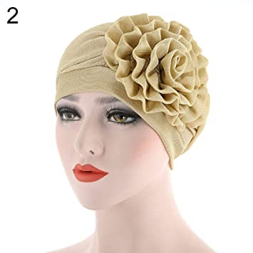 TrifyCore Mujer Gasa Elástica Flor Laterales Cabeza Turbante musulmán Hijab Sombrero