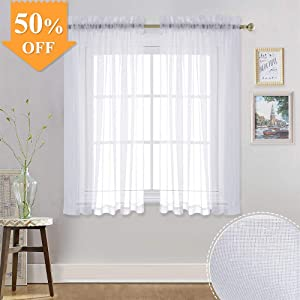 RYB HOME White Linen Look Sheer Drapes for Bedroom, Nursery Window Curtains, Privacy Voile Curtains for Bathroom, Filtering Light Glare for Kitchen Cafe Home Office, W 55 x L 45, 1 Pair