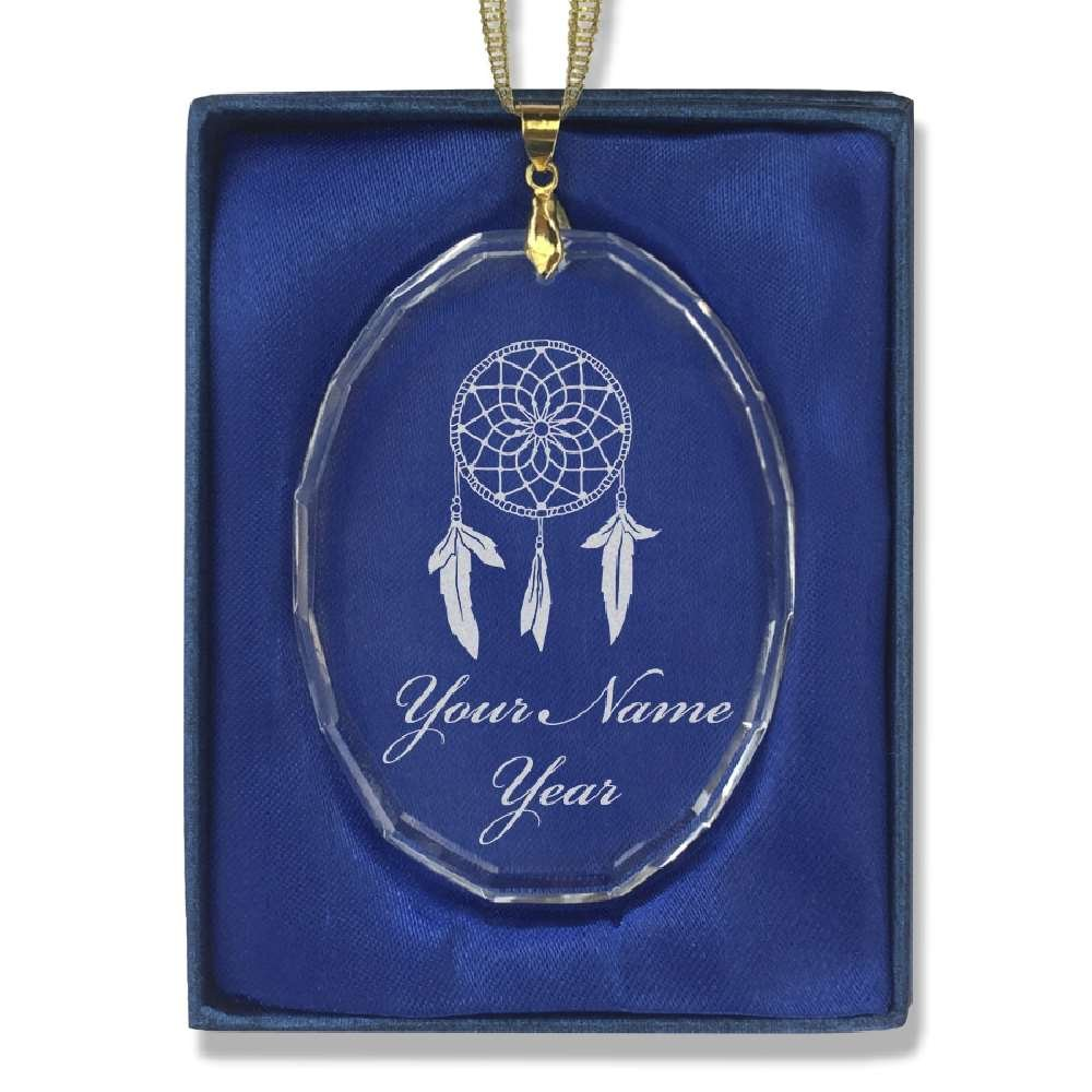 Oval Crystal Christmas Ornament - Dream Catcher - Personalized Engraving Included