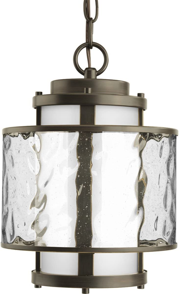 Progress Lighting P5589-20 Contemporary Modern One Light Hanging Lantern from Bay Court Collection Dark Finish, Antique Bronze
