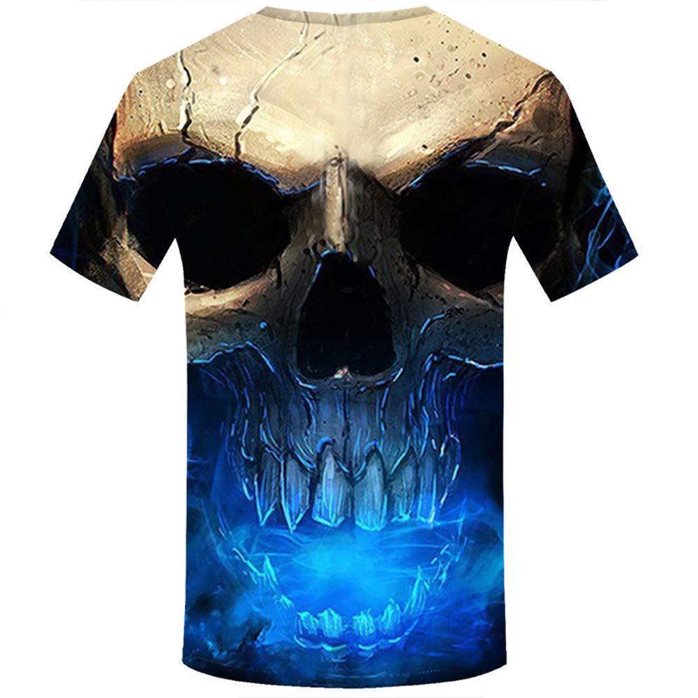 Allywit Skull T Shirt Skeleton T-Shirt Gun Tshirt Gothic Shirts Punk Tee 3D t-Shirt Anime Male Styles Blue by Allywit-Mens (Image #2)