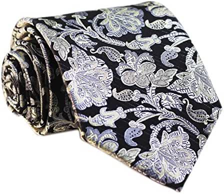 Secdtie Men's Classic Blue Silver Black Jacquard Woven Silk Tie Formal Necktie