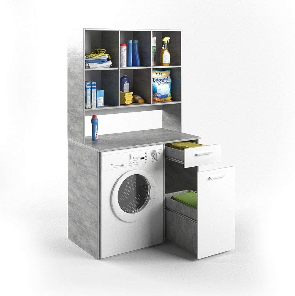 Vicco Waschmaschinenschrank Kombination Weiss 185 X 103 X 60 Cm