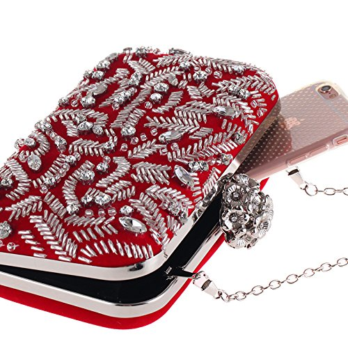 Casual Red Beaded Evening Personality Corduroy WenL Evening Bag Personality Casual Beaded WenL Corduroy 7CIpqC