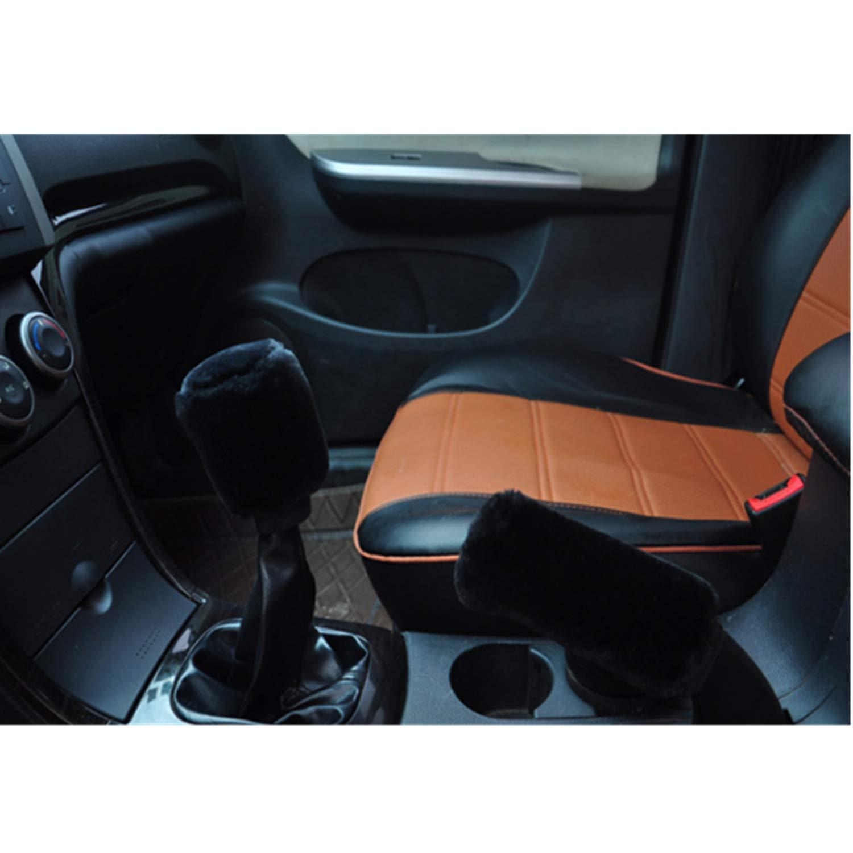 Plush Steering Wheels Cover 3pcs Winter Warm Vehicle Car Steering Wheel Handbrake Gear Shift Cover pink