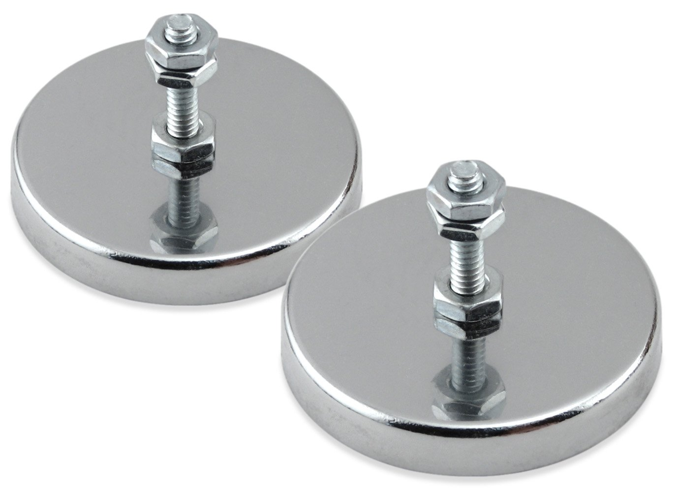 Master Magnetics RB50B3N-NEOX2 Magnetic Hook, Round Base Magnet Fastener with Bolt Chrome Plate, 2.04'' Diameter, 1.25'' Total Height, 90 Pounds, Silver (Pack of 2)