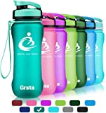 Grsta Sport Water Bottle 600ml/800ml/1l/1200ml, Leak Proof, BPA Free & Eco-Friendly Reusable Plastic - Water Bottles with Filter, Wide Mouth & Fast Water Flow - for Running/Outdoor/Hiking/Camping/Gym