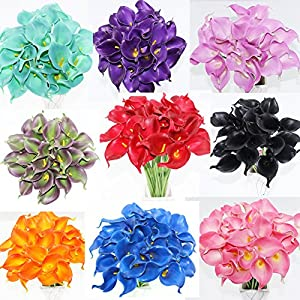 Simpleyourstyle Calla Lily Artificial Flower 20pcs No Vase Bridal Wedding Bouquet 20 Head Latex Real Touch Flower Bouquets 89