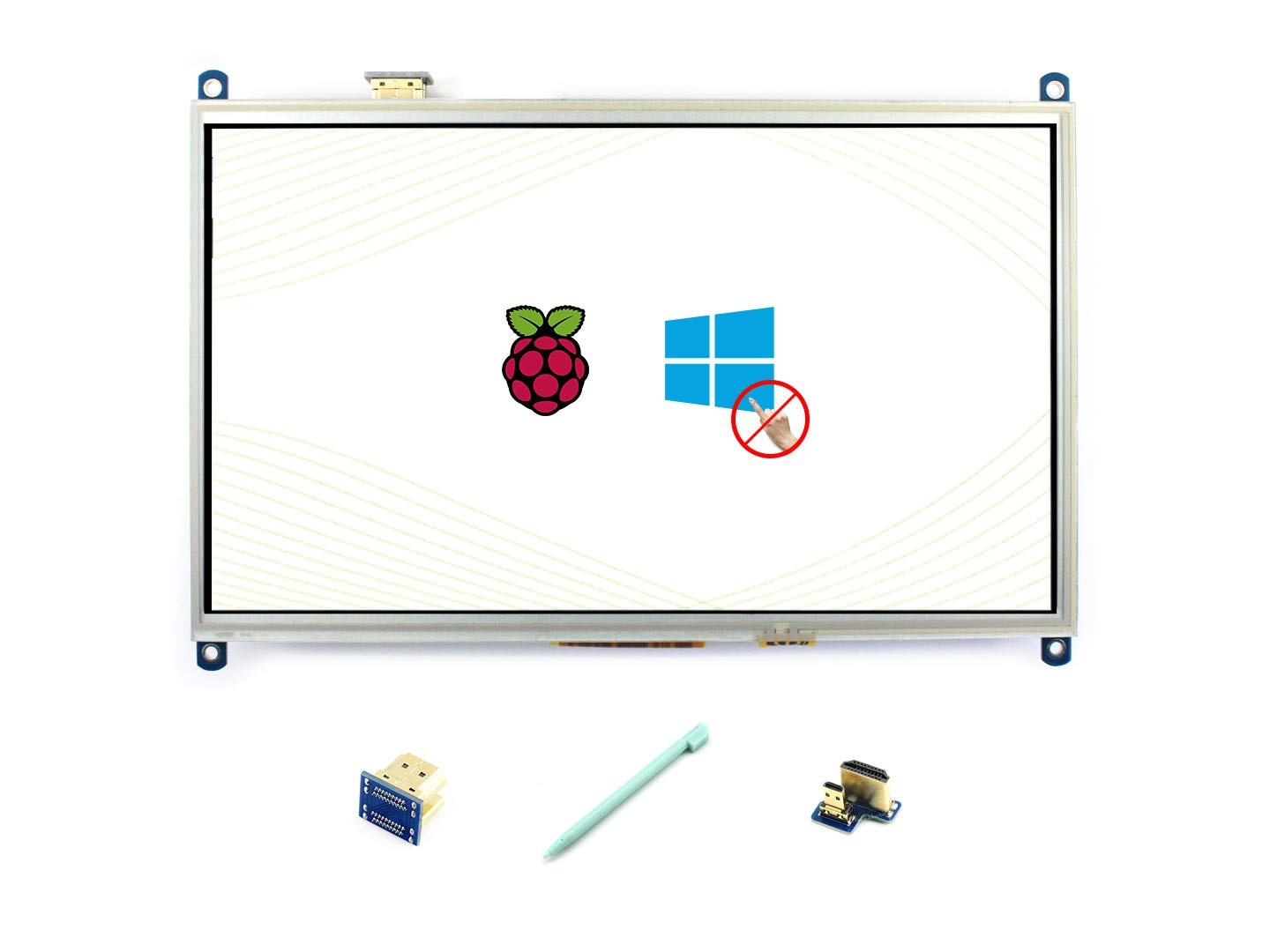 Waveshare Raspberry Pi 10.1inch HDMI LCD 1024/×600 High Resolution HDMI Interface Resistive Touch Screen LCD Compatible with All Raspberry Pi 4 3 Model B B+