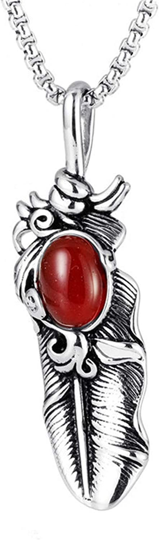 Epinki Acero Titanio Hombre Collar Ágata Primavera Forma Cadena de los Hombres Colgante del Acero Inoxidable Rojo con Ágata