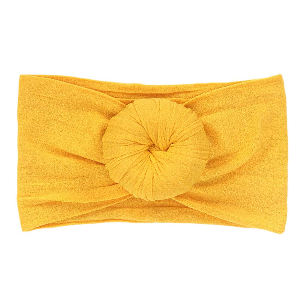 Voberry Cute Baby Girls Boys Knot Headband Toddler Infant Newborn Stretch Hairband Headwear (Yellow)