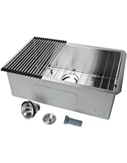 "30 inch Undermount Single Bowl 16 Gauge Stainless Steel Kitchen Sink 30"" x 18"" x 10"" - LIVINGbasics"