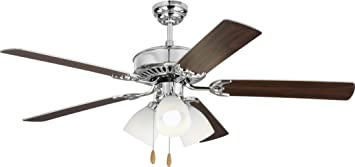 Amazon Com Monte Carlo 5hv52chf Haven 52 Ceiling Fan With 3 Led Light And Pull Chain 5 Mdf Blades Chrome 3 Light Kit Home Improvement