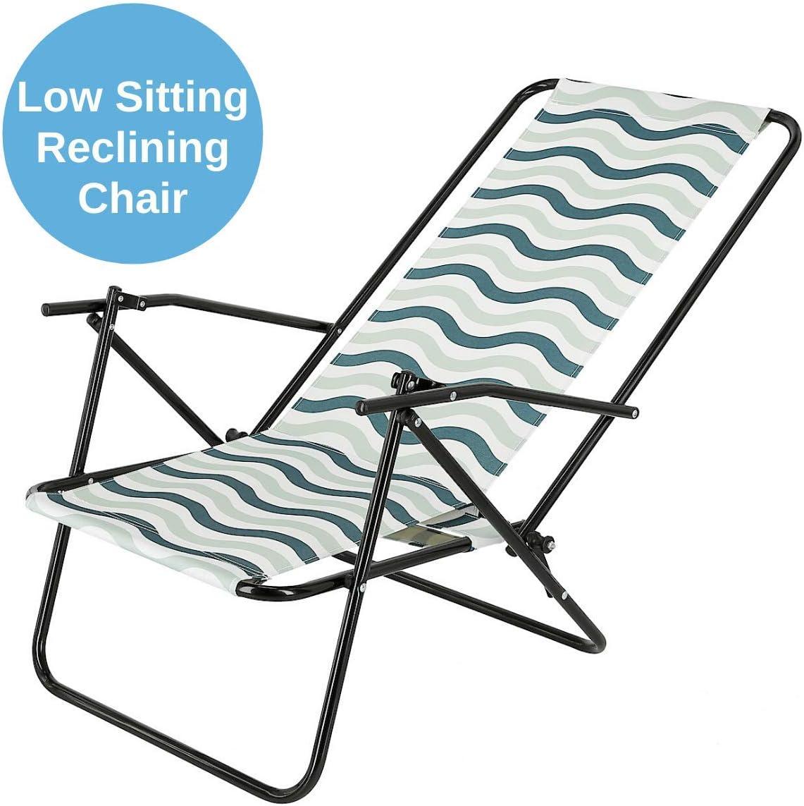 Clas Ohlson Deck Chair Foldable Beach Chair With Steel Frame Reclinable Garden Deck Chair Pink W Flowers Sunloungers Garden Outdoors