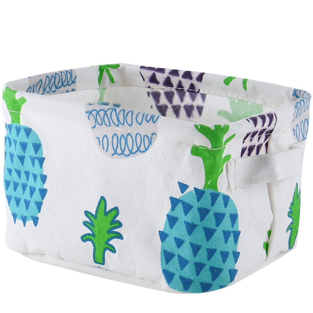 Iuhan Foldable Cotton Linen Desktop Storage Basket Sundries Storage Box Closet Toy Basket Storage Basket Organizer A