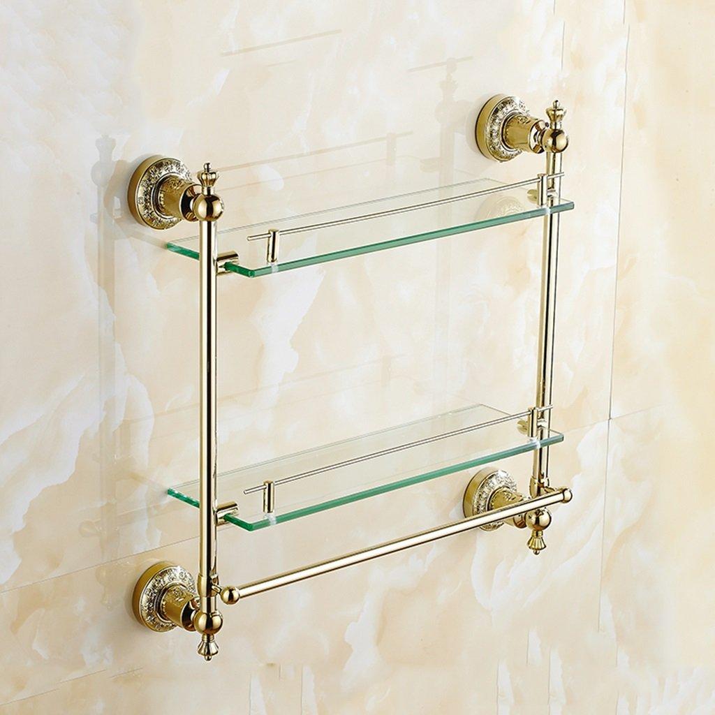 Etagère plaqué or porte-serviettes européen or argent verre salle de bains étagères antique sculpté double salle
