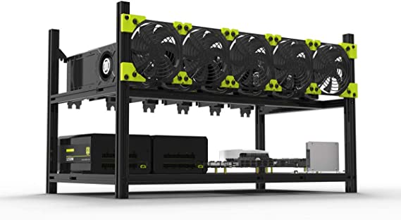 Veddha V3C 6-GPU Mining Case Aluminum Stackable Mining Rig Open Air Frame Case with Fan Mount - Ethereum(ETH