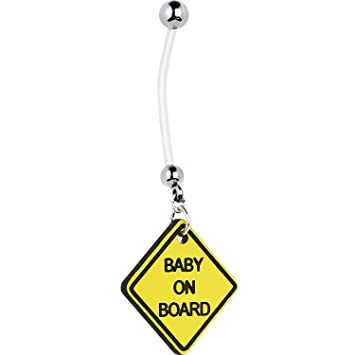Bioflex Baby On Board Logo Embarazo Barra Abdomen//Ombligo Anillo 1.6mm 14g