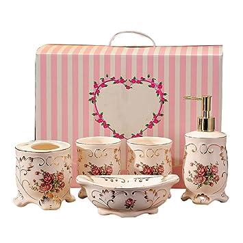 Amazon Com Vintage Rose Flower Design 5 Piece Bathroom