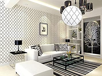 Kuamai Marokkanische Gitter Schwarz Weiß Moderne Geometrische Muster Tapete  Roll Schlafzimmer Wand Abdeckung Papier Live Room
