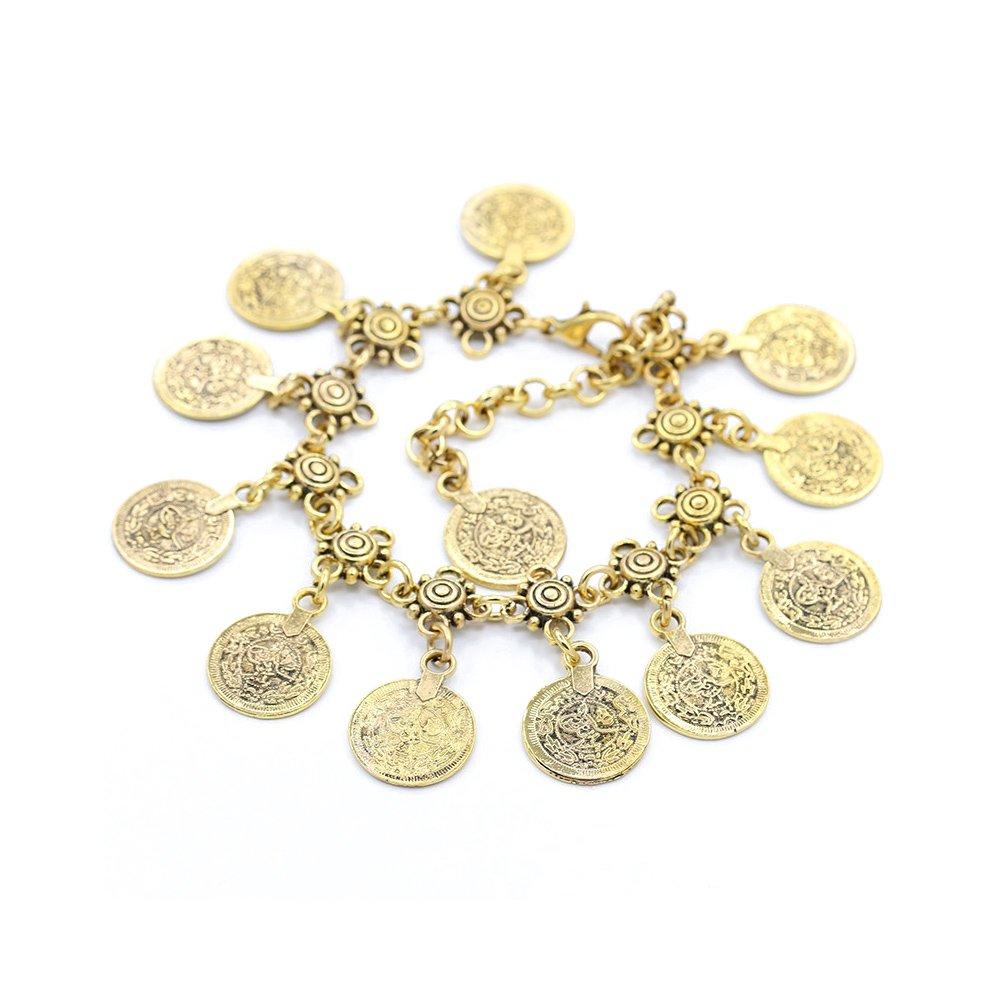 Skyeye Tobillera con Borla de Monedas de Metal de Estilo Vintage Joyer/ía Tobillera para Mujer Oro