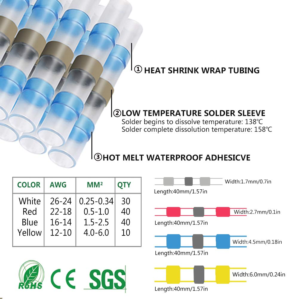 100 Pcs Heat Shrink Butt Connector Set,Solder Seal Wire Connector terminals,Shrink Tube for Wire Connection,Waterproof Electrical Terminal Smart Eagle Tech ESH-BT-04 25 White,35 Red,30 Blue,10 Yellow
