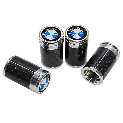Funsport Carbon Fiber Car Tire Valve Air Stem Cap Universal Car Logo Stem Cover 4 Piece Set Car Accessories (Fit BMW): Automotive