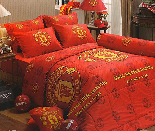 Manchester United Football Club Official Licensed Bedding Set, Bed Sheet, Pillow Case, Bolster Case, Comforter, MU001 Set B+1, 60